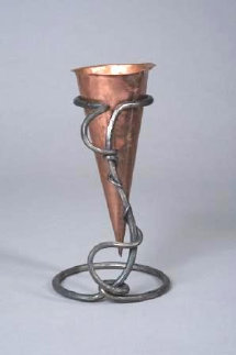 "Copper vessel in forged stand 12""H"