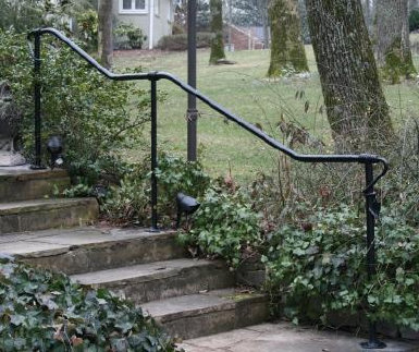 Entry path hand rail with leaf wrap