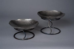 "Stainless steel bowl with forged stand 15""bowl with 7""H or 10""H stand"