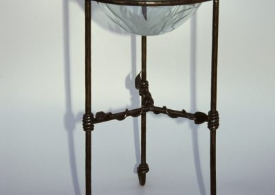 Forged steel stand with glass bowl