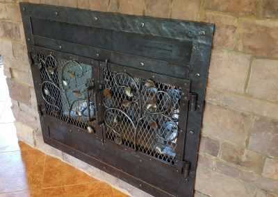 Fireplace doors brass overlay