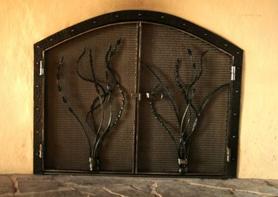 Fireplace doors with art grass