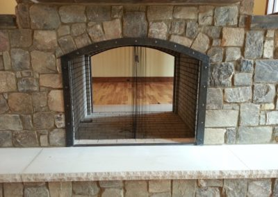 Fireplace trim with chain 2